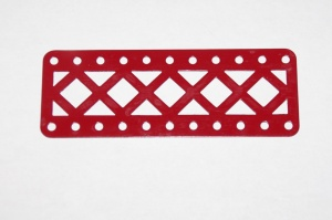 100DC Double Braced Girder 11 Hole Mid Red Repainted