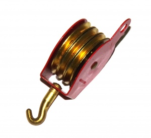 153 Pulley Block Triple + Hook Light Red Original