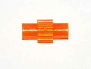 213d Tri-Flat Axle Connector & Pinion Transparent Orange Plastic Original
