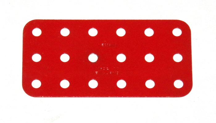 73 Flat Plate 3x6 Hole Light Red Original