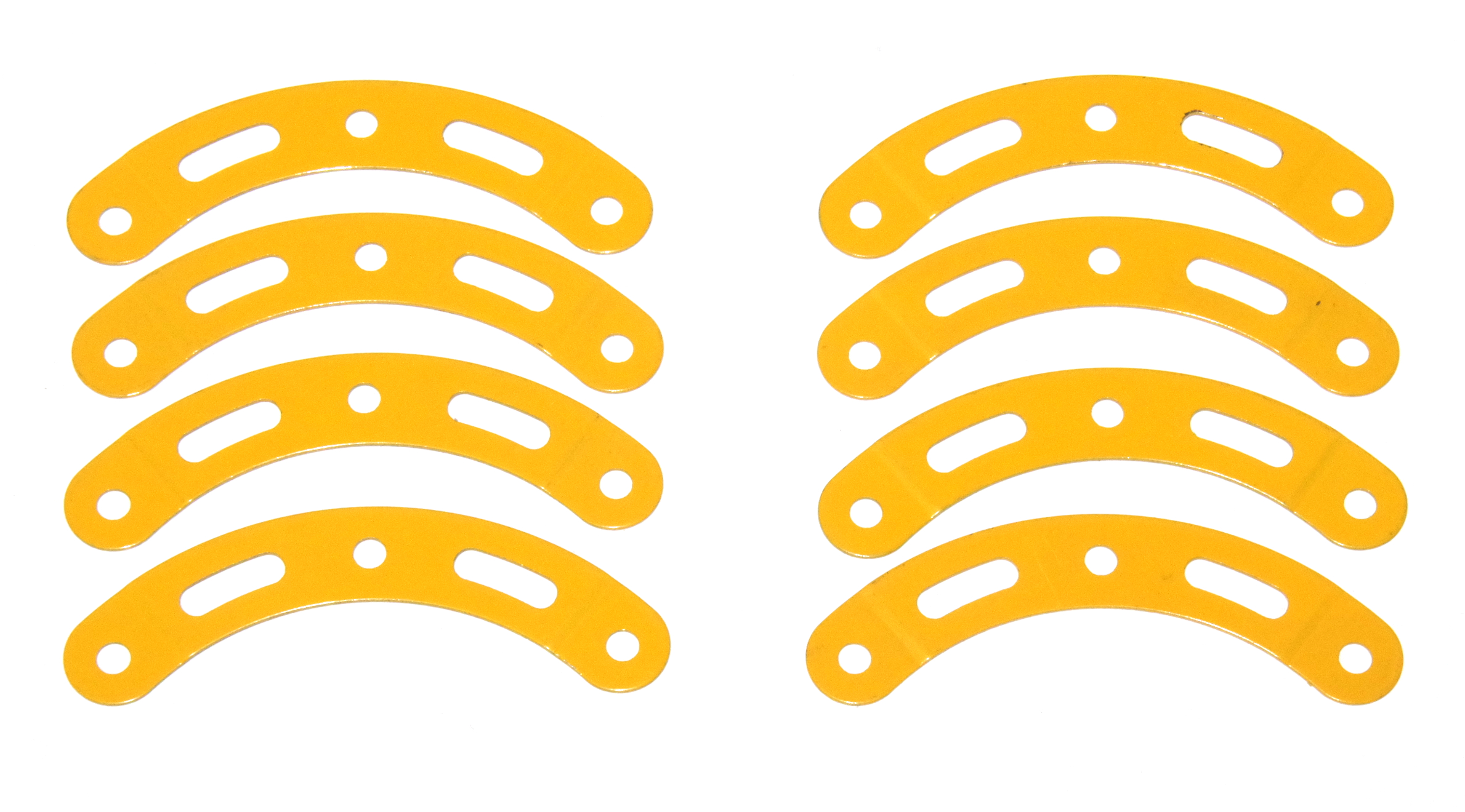 89a Curved Strip 3 Hole 2 Slot Stepped UK Yellow Original x8