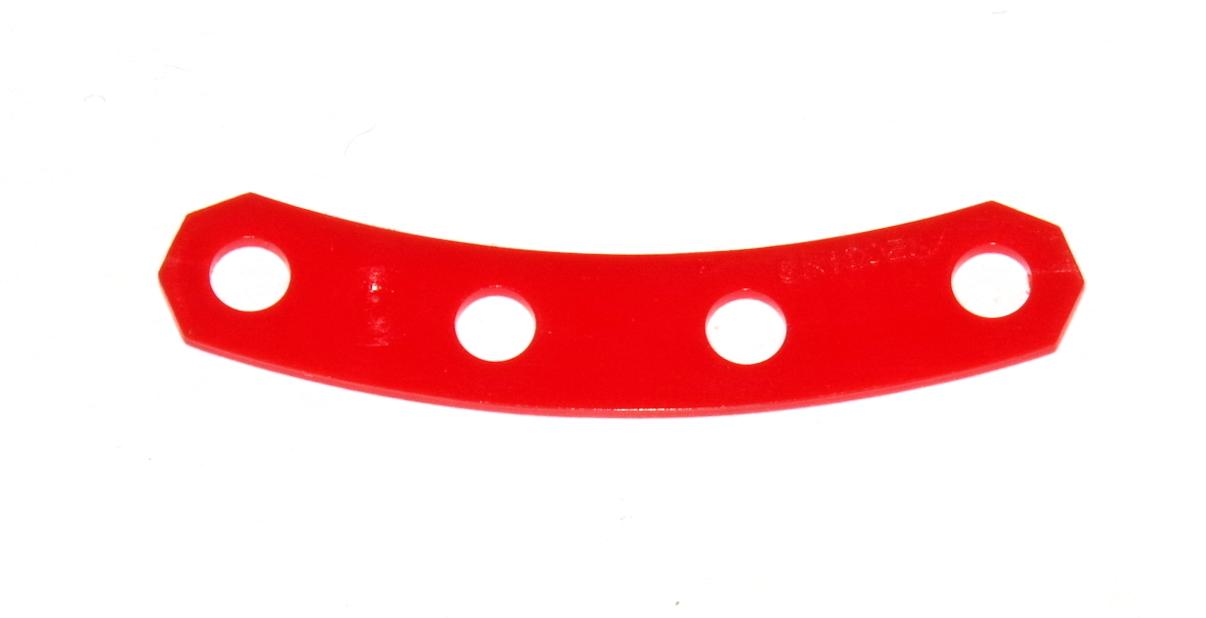 D229 Narrow Curved Plastic Flexible Strip 4 Hole Red Original